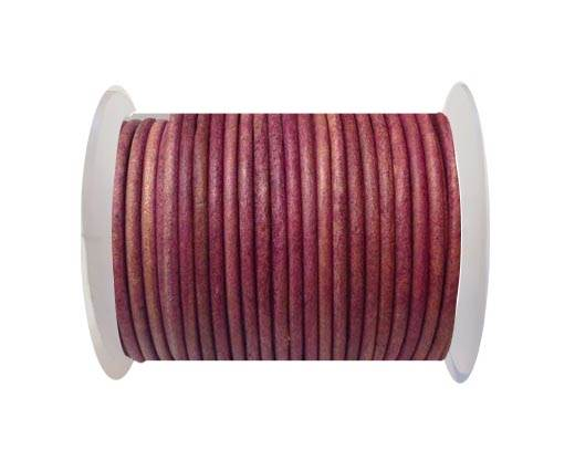 Round Leather Cord 4mm-SE. Vintage Pink