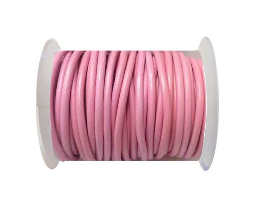 Round Leather Cord 4mm-Pink