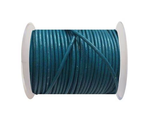 Round Leather Cord SE/R/Turquoise - 2mm
