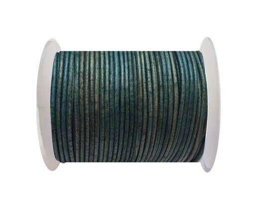 Round Leather Cord Vintage Light Blue - 2mm