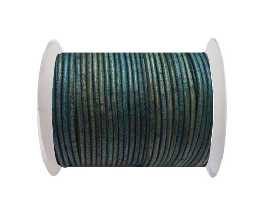 Round Leather Cord Vintage Light Blue - 3mm