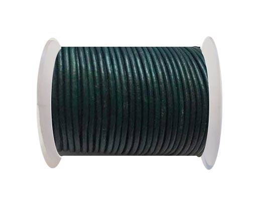 Round Leather Cord  - Blue Green - 1mm