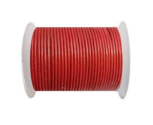 Round Leather Cord 1,5mm - METALLIC RED