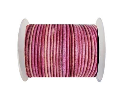 Round leather cord-2mm-vintage fuschia