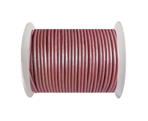 Round leather cord-2mm-METALLIC DARK PINK