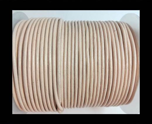 Round leather cord 2mm-PASTEL CREAM