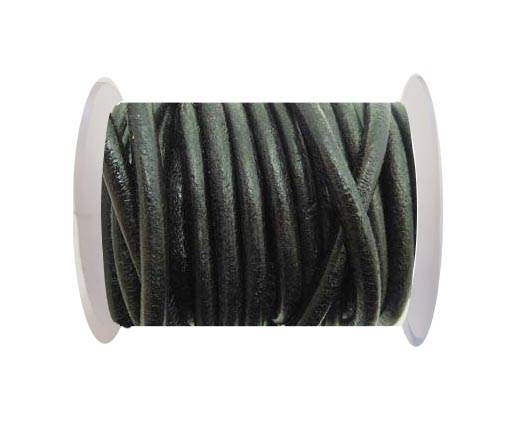 Round Leather Cord - Black-5mm