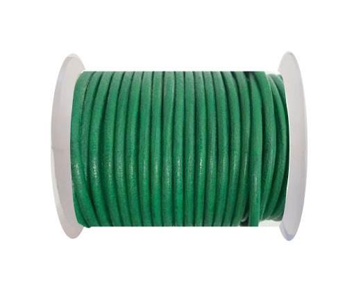 Round Leather Cord - Dark Green - 4mm