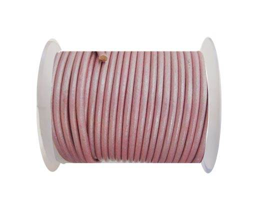 Round Leather Cord - SE.Pastel pink  - 3mm