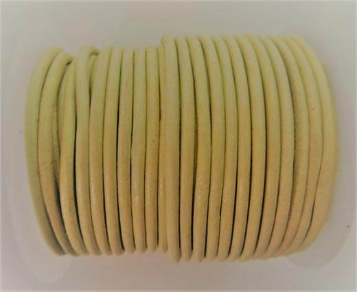 Round Leather Cord - Baige  - 3mm