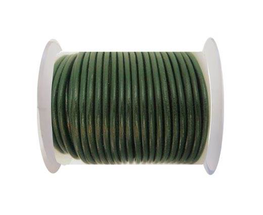 Round Leather Cord - SE. Army Green  - 3mm