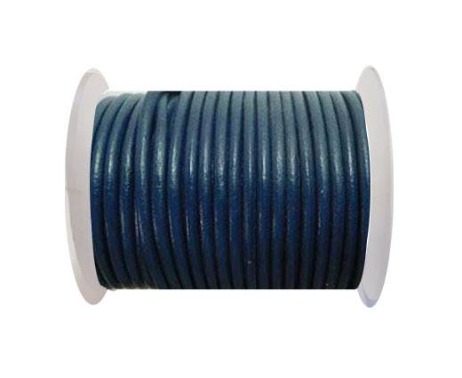 Round Leather Cord - SE.Blue - 4mm