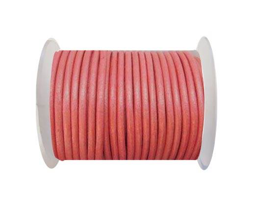 Round Leather Cord - SE.M.Pink  - 3mm