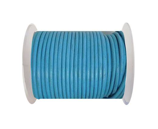 Round Leather Cord - SE.Sky  Blue - 4mm
