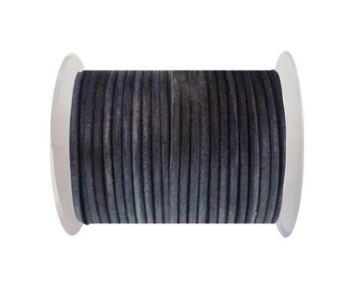 Round Leather Cord -  SE. Vintage Blue - 3mm