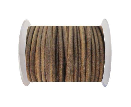 Round Leather Cord - SE. Vintage Brown  - 3mm