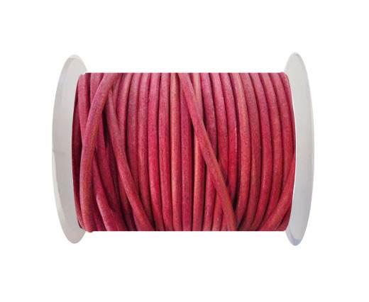 Round Leather Cord - SE. Vintage Dark Pink  - 3mm