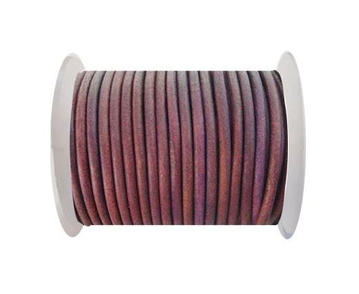 Round Leather Cord - SE. Vintage Fushia  - 3mm