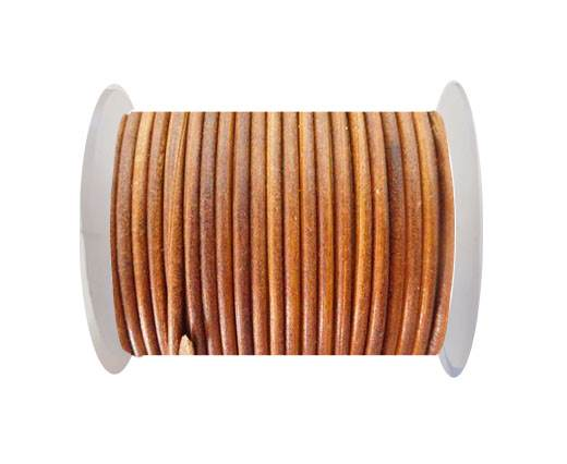 Round Leather Cord - SE. Vintage Tan  - 3mm