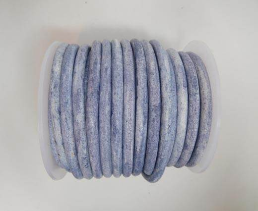 Round Leather Cord - Vintage Blue -5mm