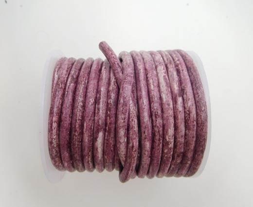 Round Leather Cord -5mm Vintage Dark Pink