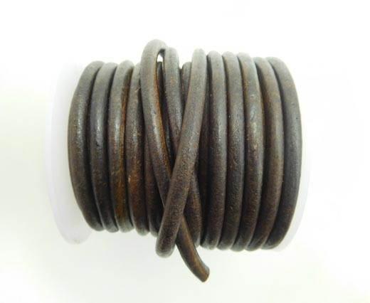 Round Leather Cord - Vintage Brown1 -5mm