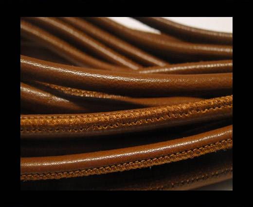 Round stitched nappa leather cord Snake-style -Brown Veins -4mm