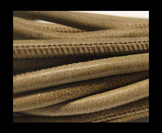 Buy Round stitched nappa leather cord Snake-style -Taupe -4mm at wholesale prices