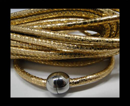 Buy Round stitched nappa leather cord Snake-style -Rosegold-4mm at wholesale prices