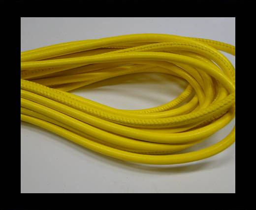 Round stitched nappa leather cord 6mm-Yellow