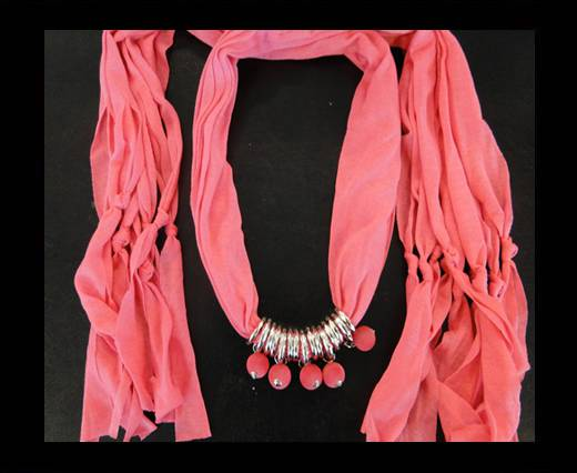 Scarf With Beads Style5-Pink