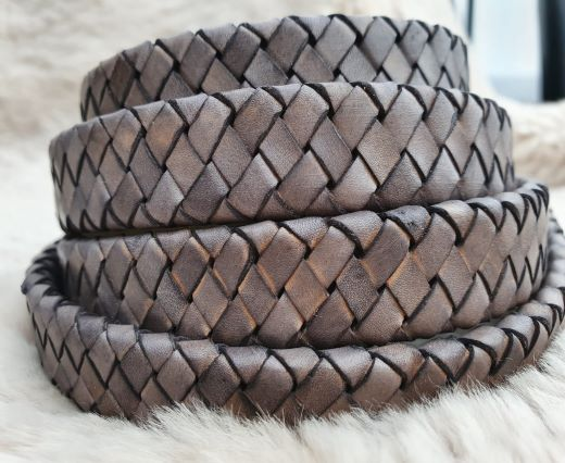 Oval Braided Leather Cord-15.5 by 4.5mm-SE_DB_12