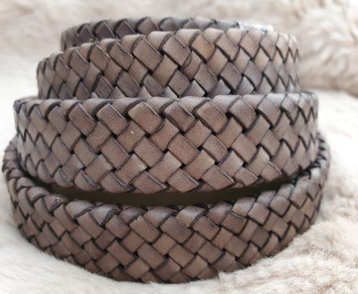 Oval Braided Leather Cord-18.5*5.2mm- se-db-d12