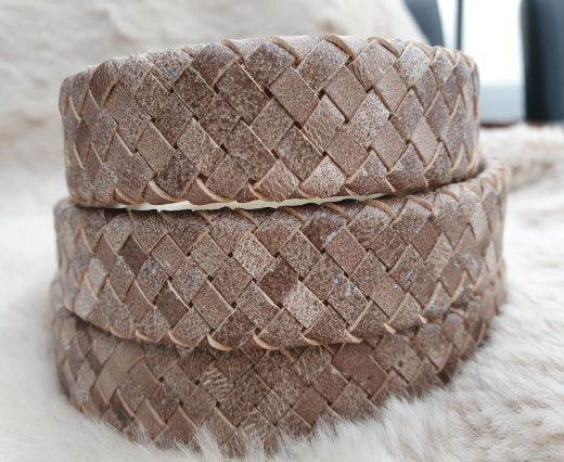 Oval Braided Leather Cord-19*5mm-se-fbcw-19