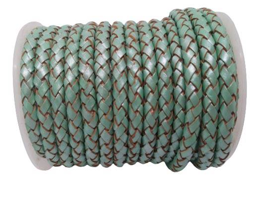 Round Braided Leather Cord SE/M/02-Metallic Mint-6mm