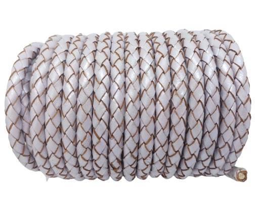 Round Braided Leather Cord SE/M/07-Metallic Lavender - 6mm