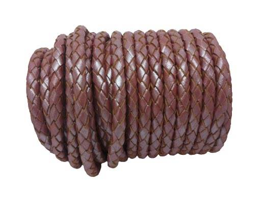 Round Braided Leather Cord SE/M/15-Metallic Plum-6mm