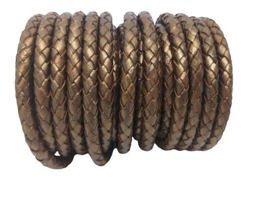 Round Braided Leather Cord SE/M/Metallic Bronze - 6mm