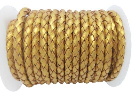 Round Braided Leather Cord SE/M/Metallic Golden - 6mm