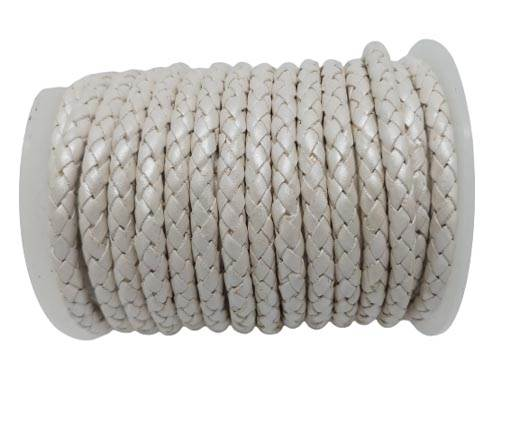 Round Braided Leather Cord SE/M/Metallic Silver - 6mm