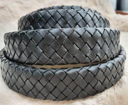 Oval Braided Leather Cord-18.5*5.2mm- se-matt black