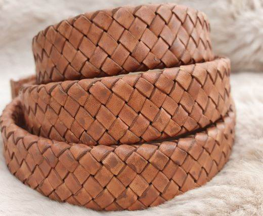 Oval Braided Leather Cord-18.5*5.2mm-se-pb-04