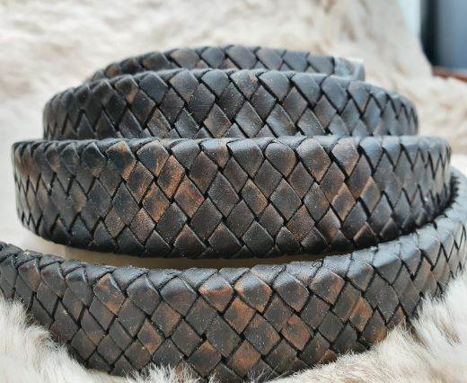 Oval Braided Leather Cord-18.5*5.2mm- se-pb-11
