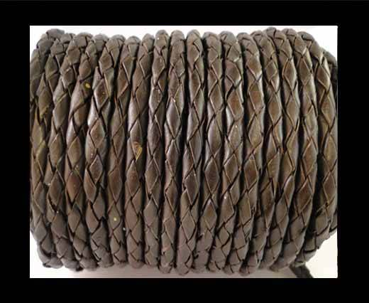 Round Braided Leather Cord SE/B/03-Dark Brown - 4mm