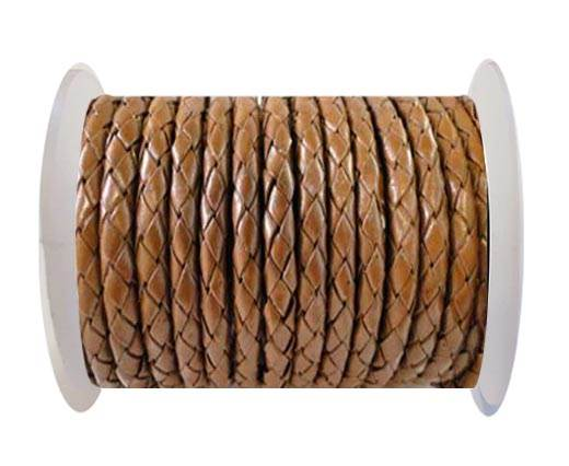 Round Braided Leather Cord SE/B/07-Medium Brown - 4mm