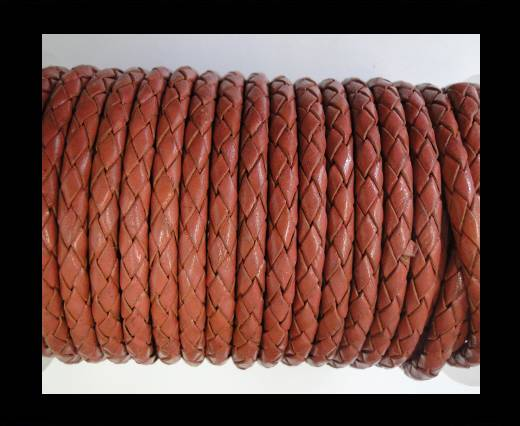 Round Braided Leather Cord SE/B/08-Coral - 4mm