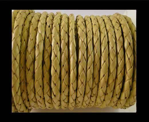 Round Braided Leather Cord SE/B/10-Lemon yellow - 4mm