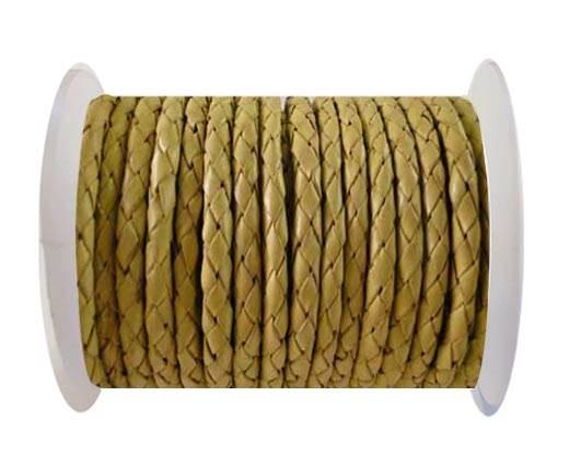 Round Braided Leather Cord SE/B/10-Lemon yellow - 4mm