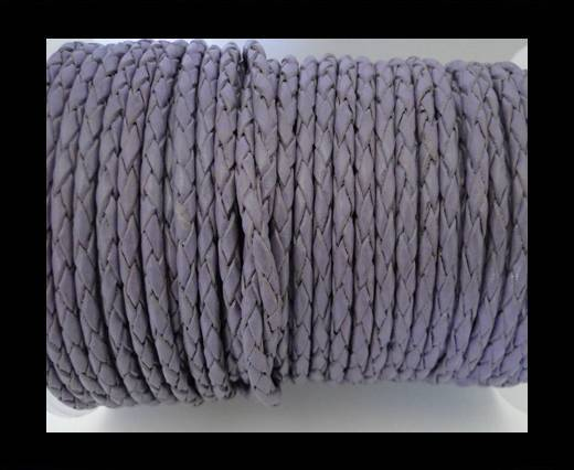 Round Braided Leather Cord SE/B/15-Violet - 4mm
