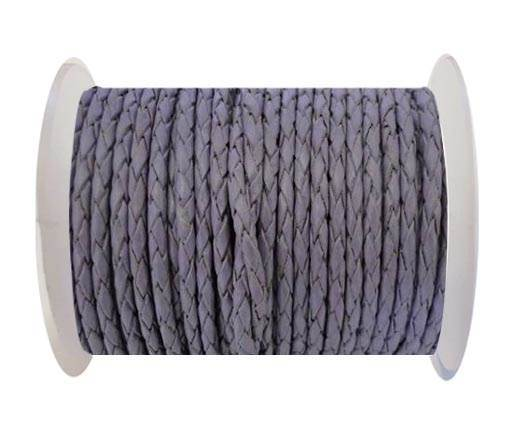 Round Braided Leather Cord SE/B/15-Violet - 8mm